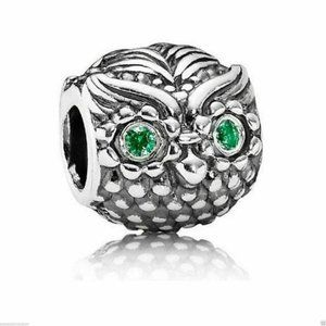 Authentic PANDORA Wise Owl Green CZ Charm